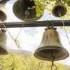 View of the bells of the Monastery of Philosopher, Peloponnese, Greece.