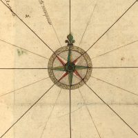 A medieval decorative compass rose from a map